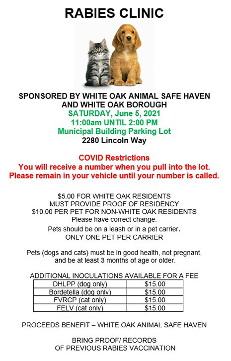 Rabies Clinic June 5, 2021 - 11am to 2pm - Municpal Building Parking Lot